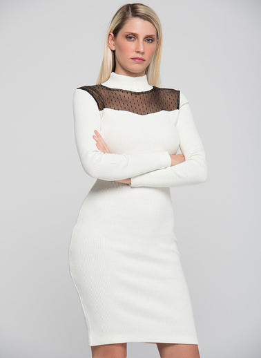 Sense Transparan Dekolte Detaylı Triko Elbise Ekru